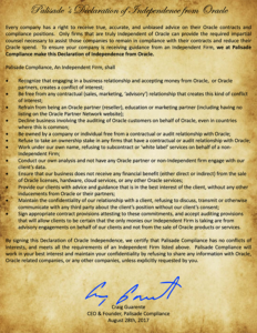 Declaration of Independence from Oracle